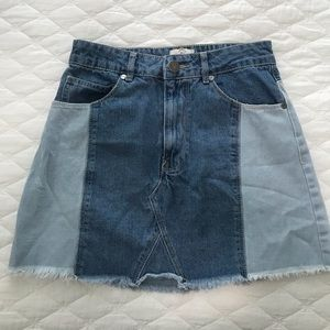 Two toned jean skirt